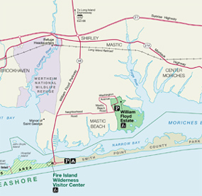 Map of portion of Fire Island National Seashore at Mastic Beach.