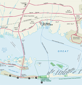 Map showing roadways and bridges to Robert Moses State Park and Fire Island Lighthouse.