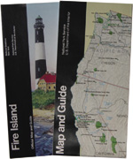 Fire Island park folder and National Park Service Map and Guide covers.