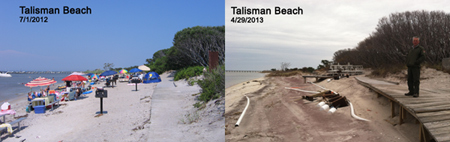 Talisman bayside beach before and after Hurricane Sandy and winter storms
