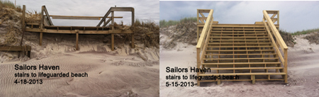 Sailors Haven stairs to beach before and after repair in spring 2013