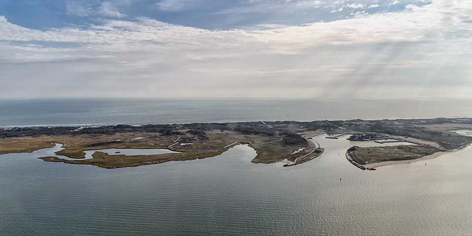 An aerial view of the barrier island.