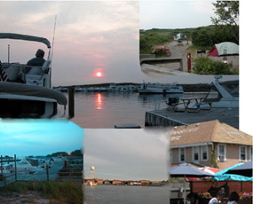 Collage of activities from sitting on a boat watching the sunset, to tents in a campground, and visiting a community restaurant.