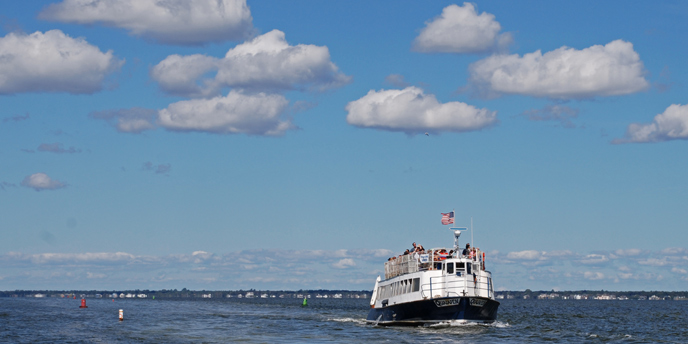 A passenger ferry crosses the Great South Bay