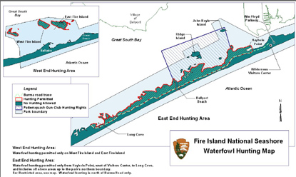 Map of areas on Fire Island where hunting is permitted.
