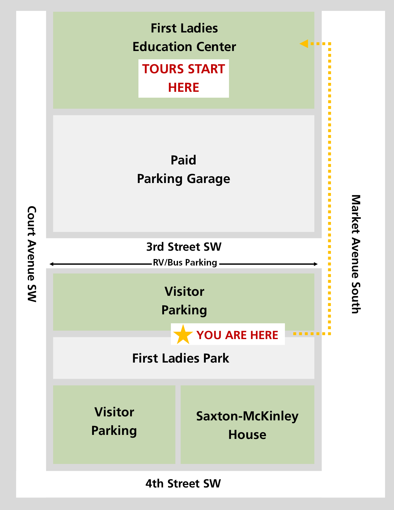 From the parking lot, walk north one block to the visitor center. The visitor center is located on the other side of the parking garage.