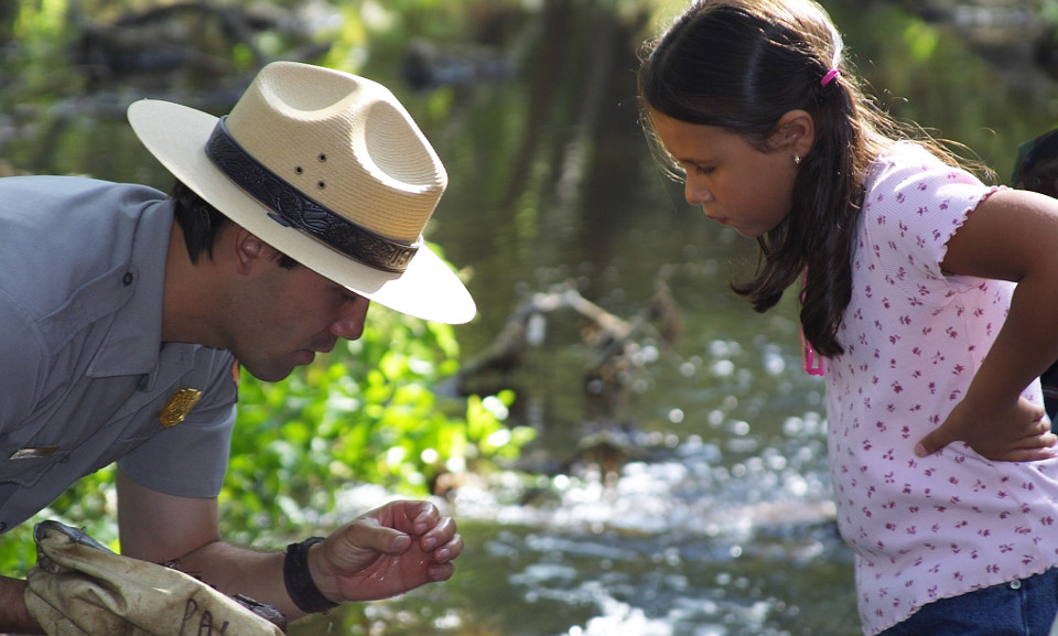 Ranger showing girl insect in creek