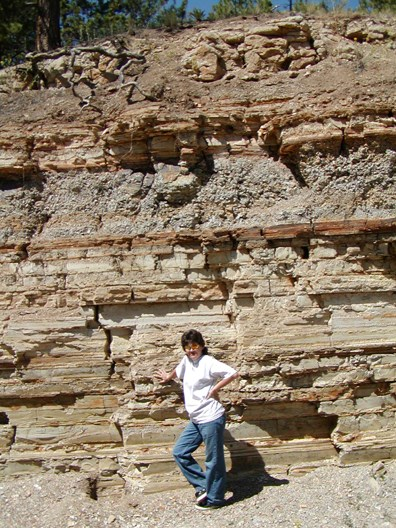 Lower shale at the commercial quarry. The owner, Nancy Anderson, is posing in front.