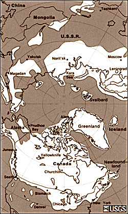 Figure 1 - The maximum extent of glacial ice in the north polar area during the Pleistocene. Image courtesy of the USGS.