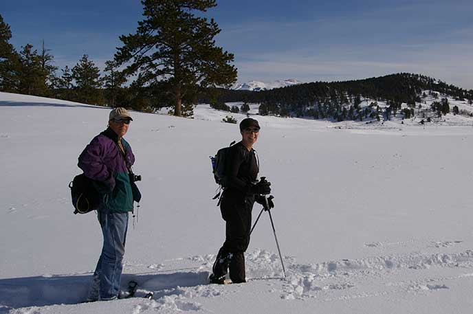 visitor snowshoeing for health in the park