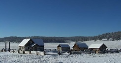 Hornbek Homestead in snow
