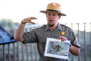Ranger Justin giving a talk about the forces of nature and the geology of the Florissant Valley.