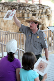 A Ranger talk in the outdoor exhibit area.