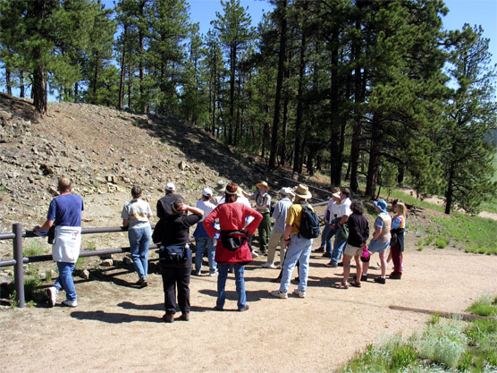 Ranger with visitors looking at an outcrop of weathered, gray sedimentary rocks called shale