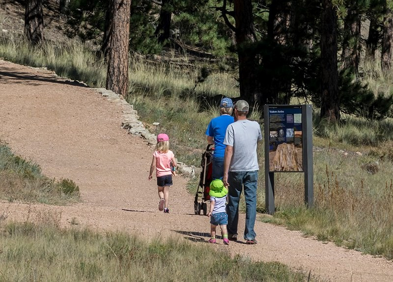A family hikes the Petrified Forest loop