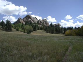 view of an outrcop of granite called the Twin Rocks
