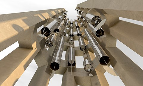 This artistic rendition of the completed wind chimes inside the Tower of Voices shows the forty different chimes and the internal strikers attached to sails projecting from the bottom of each chime.