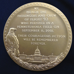 The reverse side of the Flight 93 Congressional Gold Medal