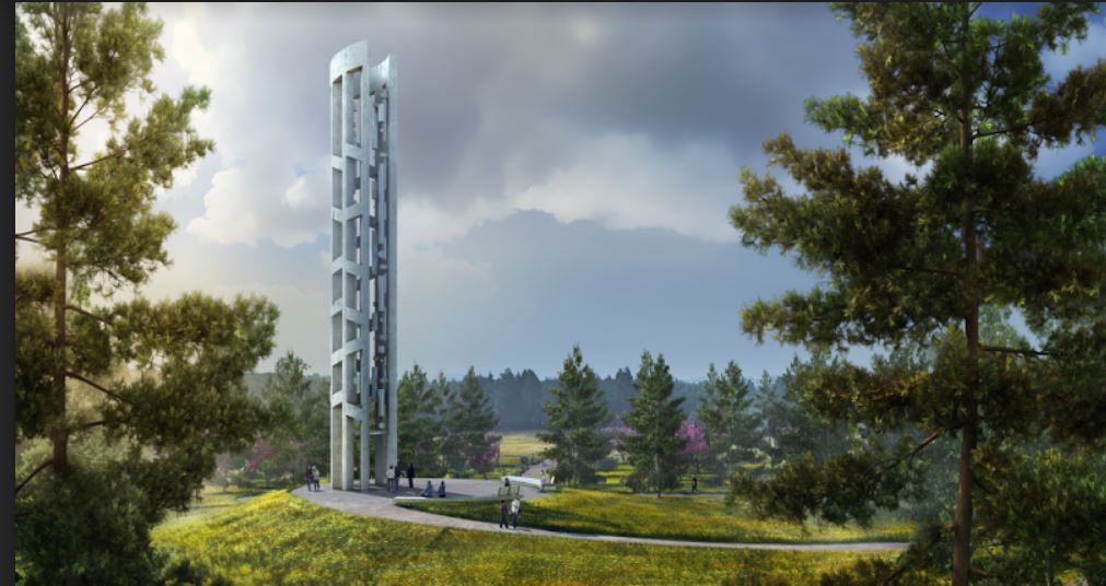 Artist rendering depicting the Tower of Voices, a 93 foot tall tower that will hold 40 chimes, representational of the passengers and crew of Flight 93.