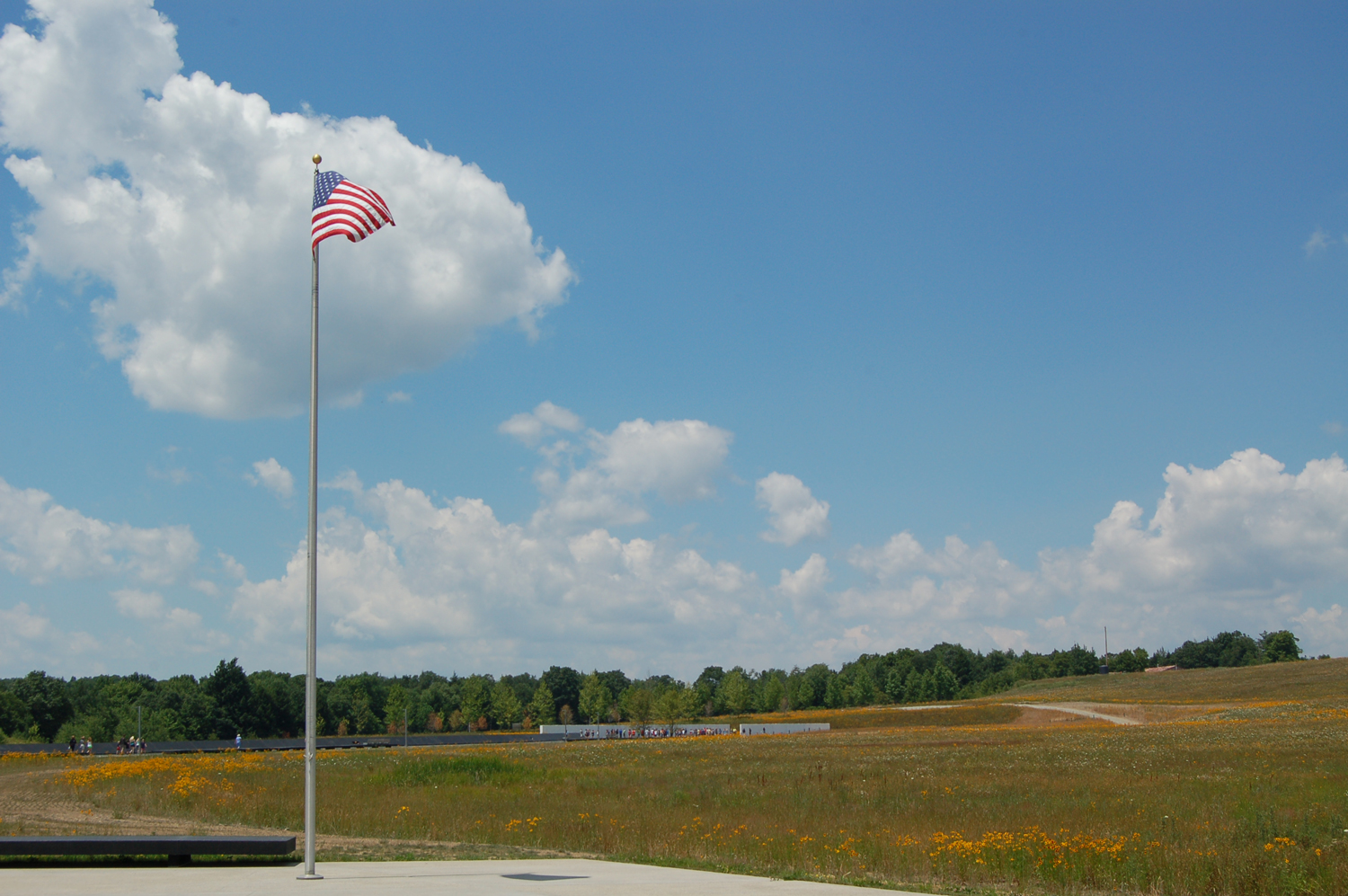 Flag flying at the Memorial Plaza, Flight 93 NMEM