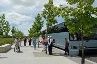 Bus drop off area at Memorial Plaza at the crash site