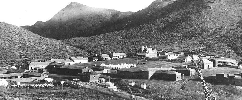 Black and white photo of Fort Bowie in 1886