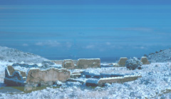 A photo of the ruins in the snow