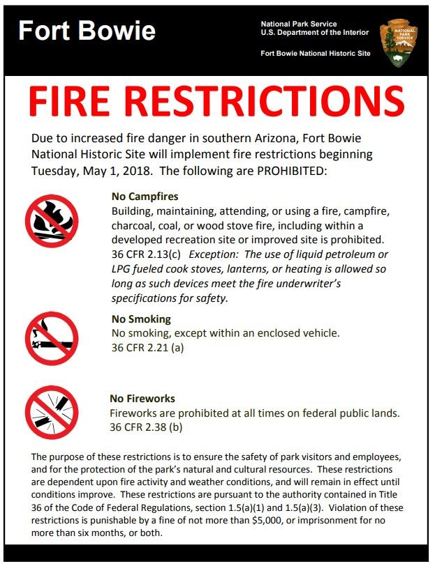 poster of fire restrictions