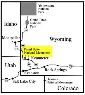 Map of Wyoming showing Fossil Butte National Monument in the southeast.