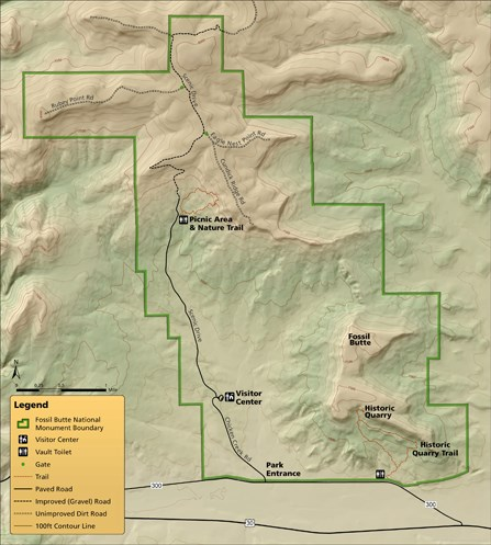 Map of Fossil Butte National Monument including road, trail, picnic area and visitor center locations.