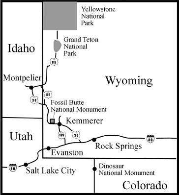 Kemmerer Wyoming Map.Directions And Transportation Fossil Butte National Monument U S