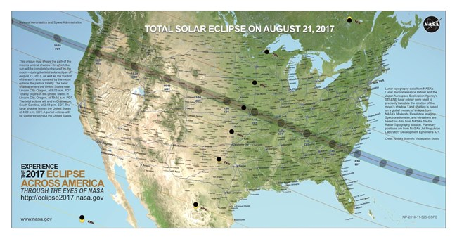US Map with Total Solar Eclipse line of totality drawn from upper left to lower right