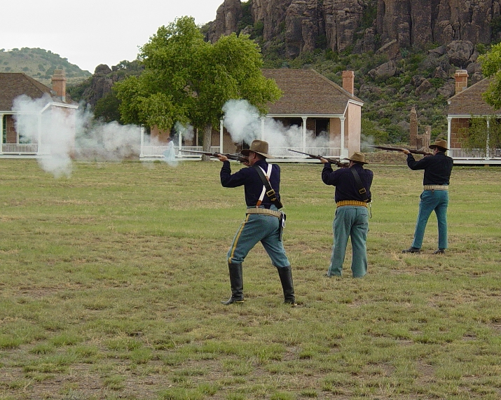 A periodic small arms demonstratin at Fort Davis.