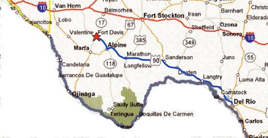 Del Rio Texas Map Map from Del Rio to Fort Davis   Fort Davis National Historic Site  Del Rio Texas Map