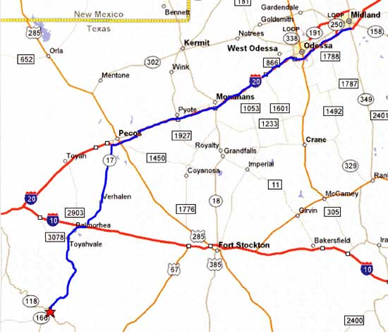 Map From Midland Odessa To Fort Davis