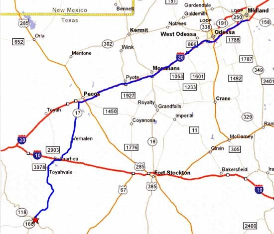 Map from Midland/Odessa to Fort Davis, Texas.
