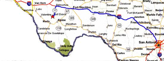 Map from San Antonio to Fort Davis.