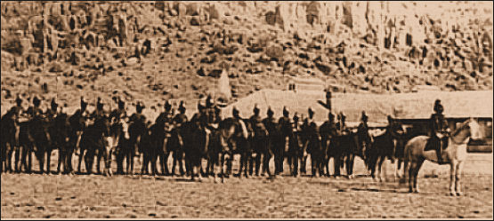 Historic photograph of a 9th Cavalry company at Fort Davis, circa 1875.