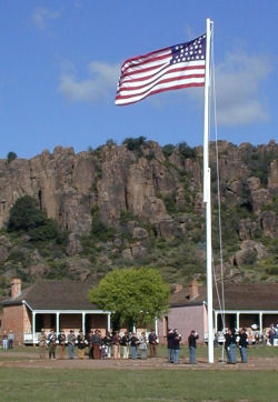 A formal flag-raising ceremony at Fort Davis National Historic Site during the Sesquicentenniel Celebration in October 2004.