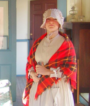 Volunteer portraying a servant in the kitchen at Fort Davis.