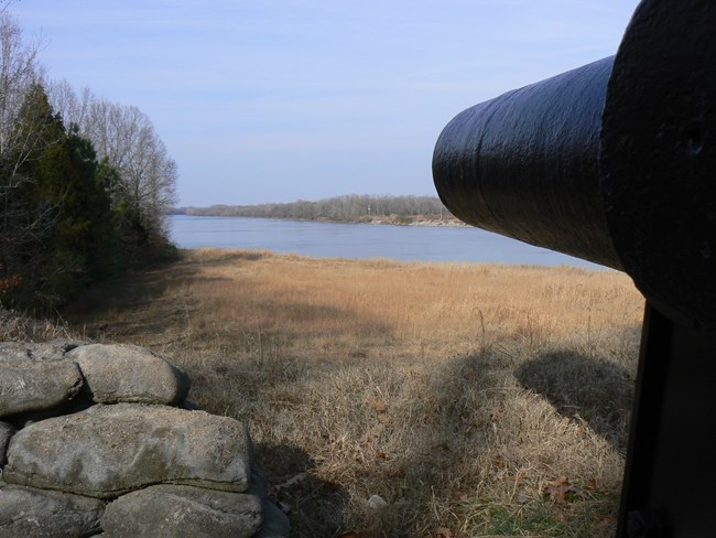 View of the Tennessee River from the lower battery at Fort Donelson