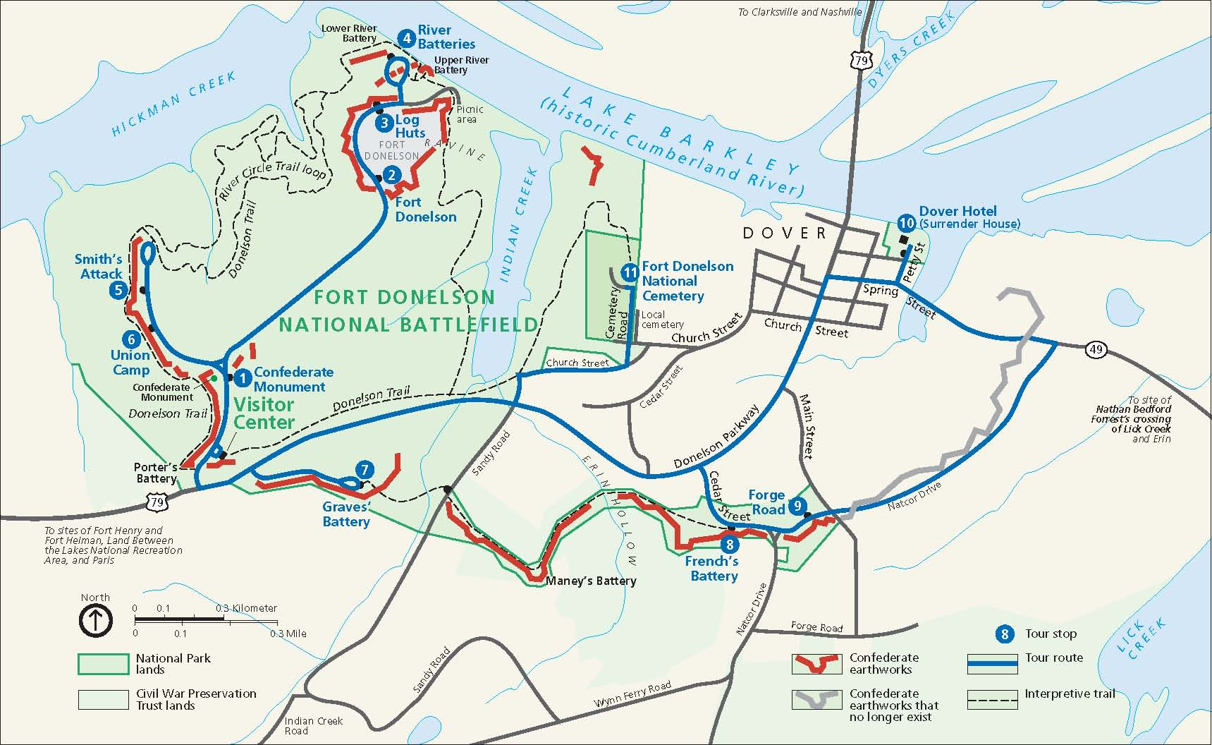 Virtual Tour Fort Donelson National Battlefield US National - Fort donelson on us map