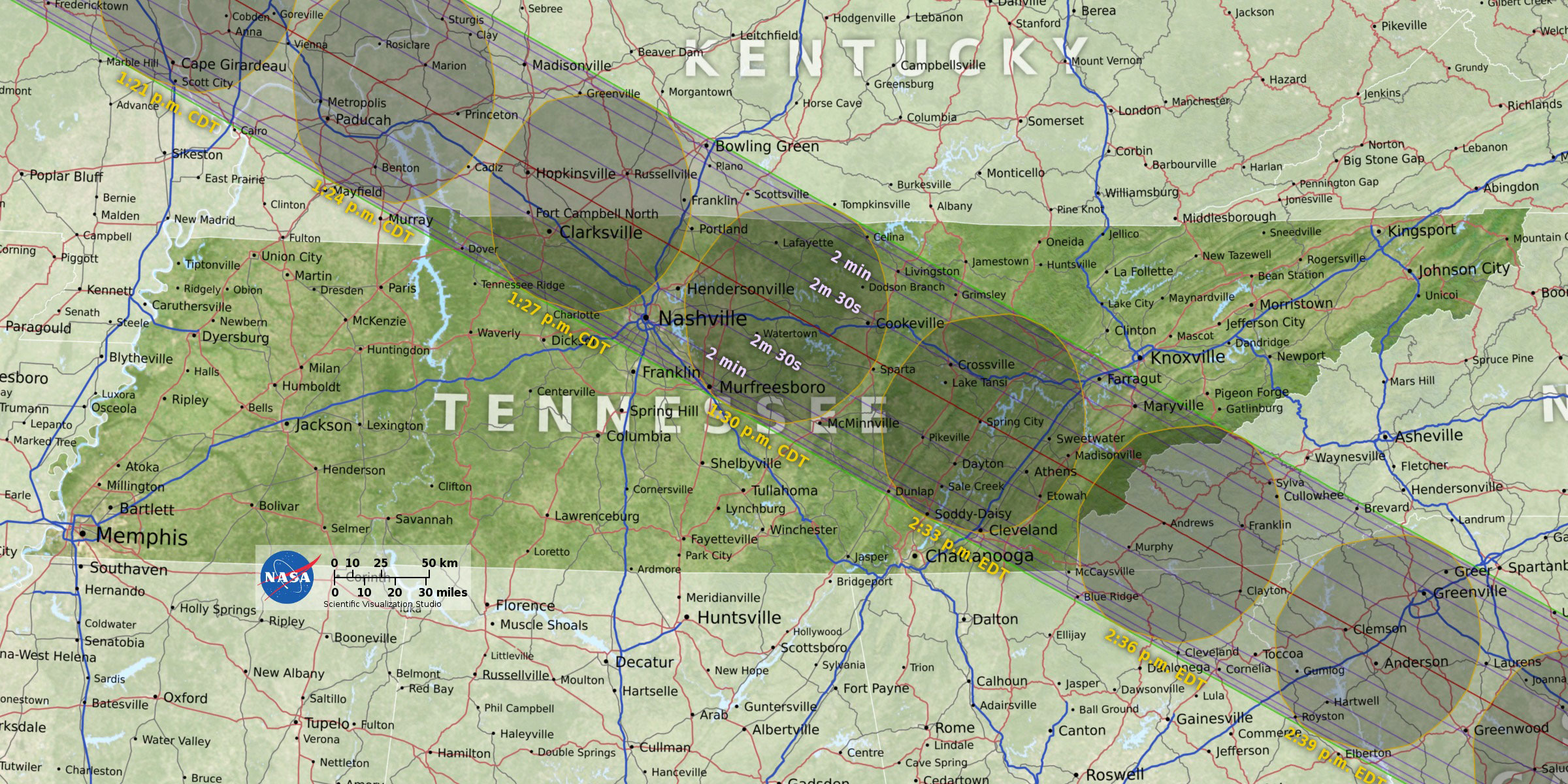 Solar Eclipse Fort Donelson National Battlefield US - Ft donelson river on us map