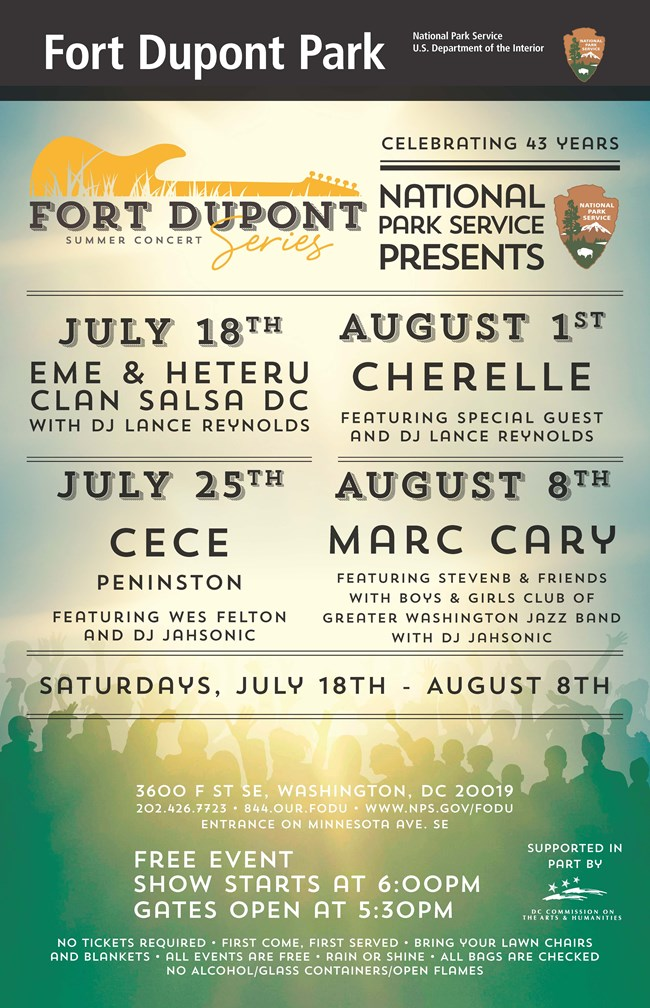 free concerts at fort dupont park in washington dc