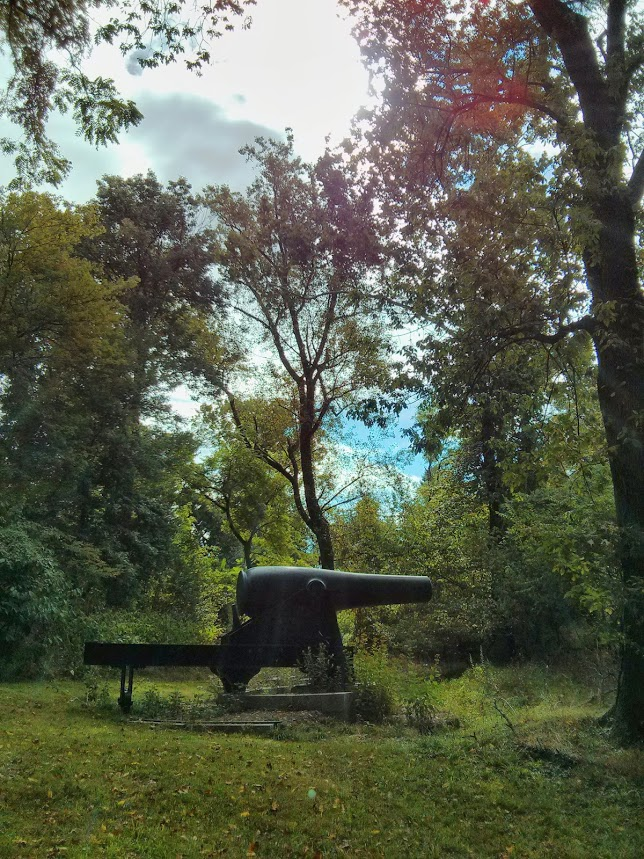 Civil War era Rodman Cannon in the woods of Fort Foote