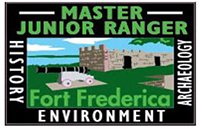 rectangular master junior patch with blue sky, black cannon and grey stone fort in background