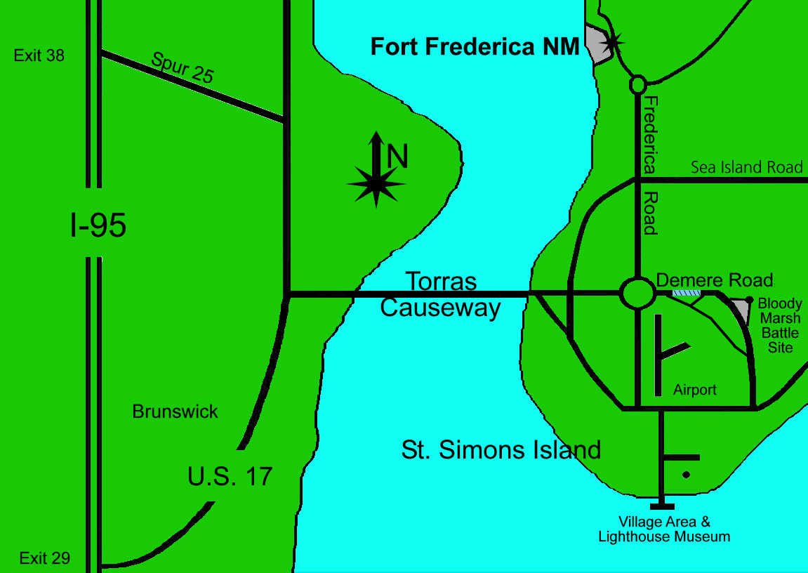 Fort Frederica Location Map