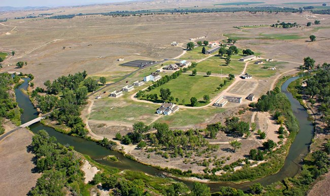 Aerial view of Fort Laramie National Historic Site looking northwest
