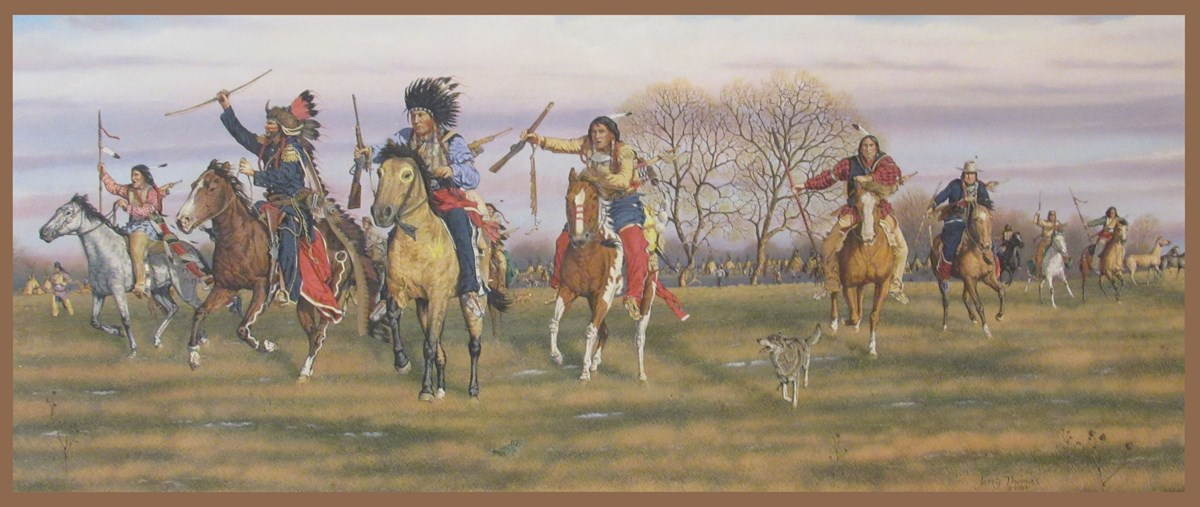 Painting of Indian warriors riding into battle.