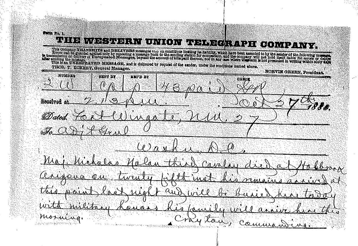 Copy of a Western Union telegram reporting Nolan's death.